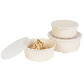 Earth Three-Piece Lightweight Bamboo Fibre Kitchen Container Set, 18/16/14 cm, Natural Thumbnail 6