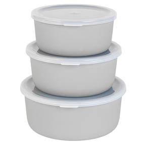 Salter BW07824G Earth Three-Piece Lightweight Reusable Kitchen Container Set, 18/16/14.5 cm, Grey