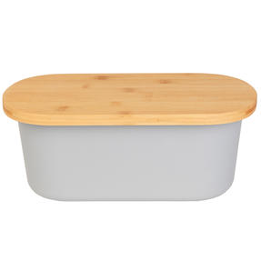 Salter BW07825G Earth Lightweight Bread Bin with Bamboo Lid, Grey