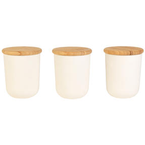 Earth Three-Piece Lightweight Circular Bamboo Fibre Kitchen Container Set, Natural