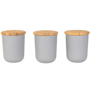 Earth Three-Piece Lightweight Circular Bamboo Fibre Kitchen Container Set, Grey Thumbnail 1