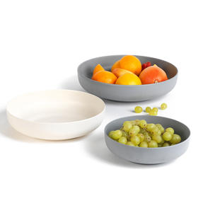 Salter Earth Three-Piece Lightweight Reusable Flat Round Bowl Set, BPA Free, 20/25/30 cm, Grey/Cream Thumbnail 4