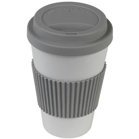 Earth 16 oz Lightweight Bamboo Fibre Sippy Mug, Grey Thumbnail 4