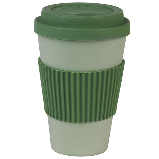 Earth 16 oz Lightweight Bamboo Fibre Sippy Mug, Green