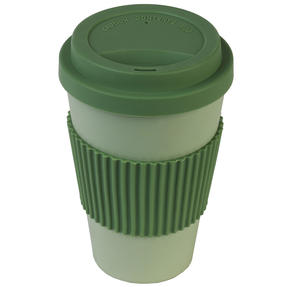 Earth 16 oz Lightweight Bamboo Fibre Sippy Mug, Green Thumbnail 4