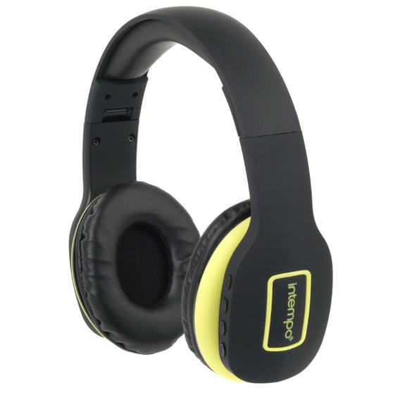 Intempo Active Wireless Bluetooth Foldable Headphones, Black/Yellow