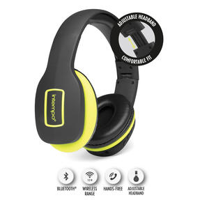 Intempo EE1178SBLKYELSTKEU Active Wireless Bluetooth Foldable Headphones, Black/Yellow
