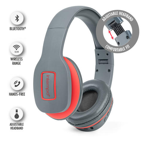 Intempo EE1178SGRYCORSTKEU Active Wireless Bluetooth Foldable Headphones, Grey/Coral