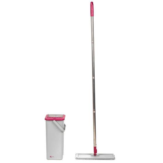 Kleeneze KL062253EU Flat Head Mop and Bucket Set, Pink/Grey