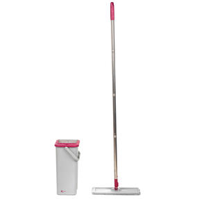 Kleeneze KL062253EU Flat Head Mop and Bucket Set, Pink/Grey