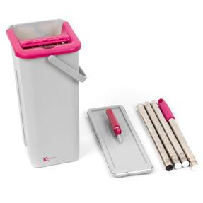 Kleeneze KL062253EU Flat Head Mop and Bucket Set, Pink/Grey Thumbnail 6