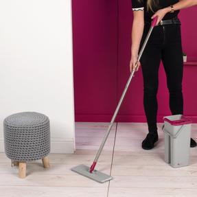 Kleeneze KL062253EU Flat Head Mop and Bucket Set, Pink/Grey Thumbnail 7
