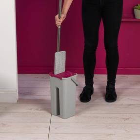 Kleeneze KL062253EU Flat Head Mop and Bucket Set, Pink/Grey Thumbnail 8