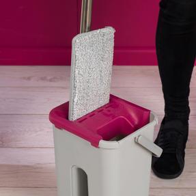 Kleeneze KL062253EU Flat Head Mop and Bucket Set, Pink/Grey Thumbnail 9