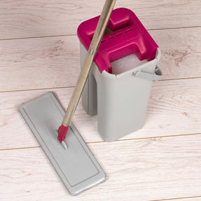 Kleeneze KL062253EU Flat Head Mop and Bucket Set, Pink/Grey Thumbnail 10