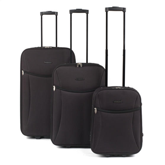 "Constellation Eva 3 Piece Suitcase Set, 18/24/28"", Black"