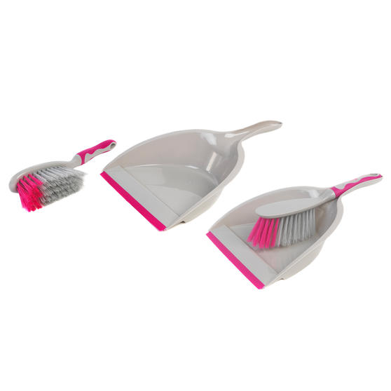 Kleeneze COMBO-4809 Deluxe Space Saving Dustpans and Brushes, Set of 2, Grey/Pink
