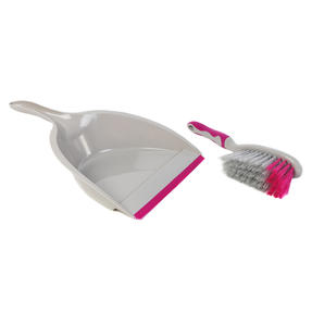 Kleeneze COMBO-4809 Deluxe Space Saving Dustpans and Brushes, Set of 2, Grey/Pink Thumbnail 4