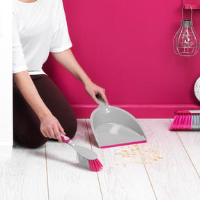 Kleeneze COMBO-4809 Deluxe Space Saving Dustpans and Brushes, Set of 2, Grey/Pink Thumbnail 6