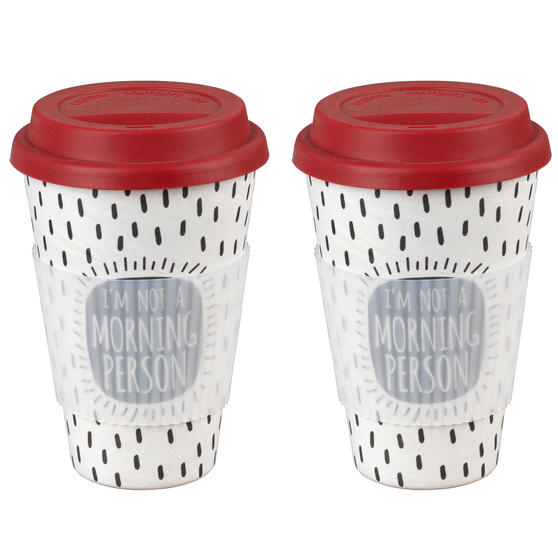 Cambridge COMBO-4790 Morning Person Reusable Travel Mug, Set of 2 | Alternative to Single Use Plastic Cups