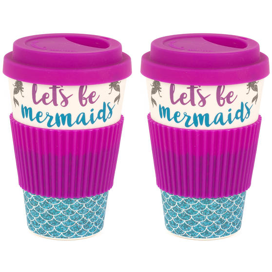 Cambridge COMBO-4793 Lets Be Mermaids Eco Travel Mugs, Set of 2