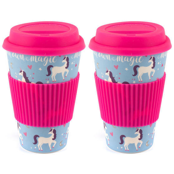 Cambridge COMBO-4795 Magic Unicorn Eco Travel Mugs, Set of 2