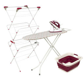 Laundry Set with Diamond Board, 2 in 1 Steam Iron, Airer & Basket