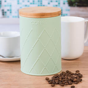 Salter Embossed Round Canister for Coffee, Mint Green Thumbnail 3