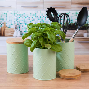 Salter Embossed Round Canister for Coffee, Mint Green Thumbnail 8