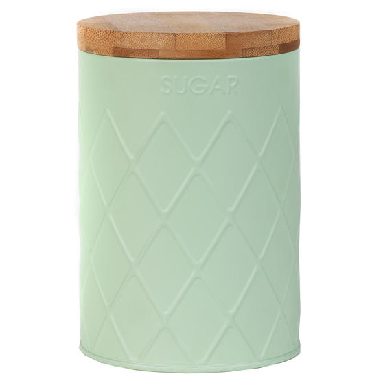 Salter BW07733S Embossed Round Canister for Sugar, Mint Green