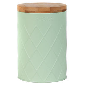 Salter Embossed Round Canister for Sugar, Mint Green