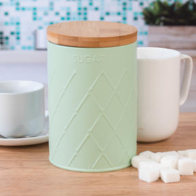 Salter BW07733S Embossed Round Canister for Sugar, Mint Green Thumbnail 3
