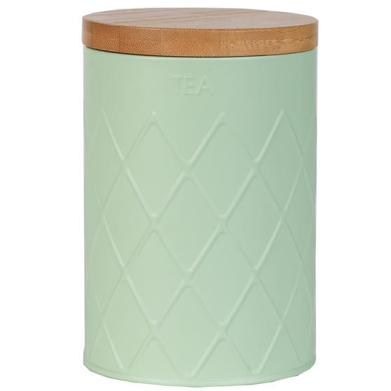 Salter BW07733T Embossed Round Canister for Tea, Mint Green