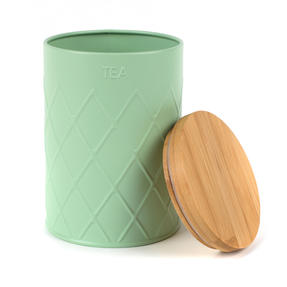 Salter BW07733T Embossed Round Canister for Tea, Mint Green Thumbnail 2
