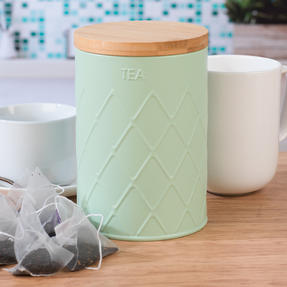 Salter Embossed Round Canister for Tea, Mint Green Thumbnail 3
