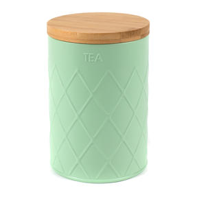 Salter Embossed Round Canister for Tea, Mint Green Thumbnail 4