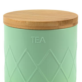 Salter Embossed Round Canister for Tea, Mint Green Thumbnail 5