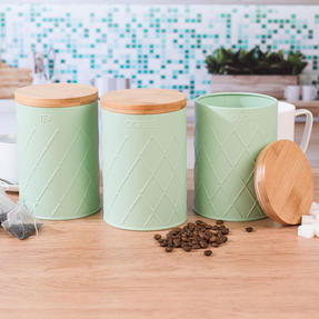Salter Embossed Round Canister for Tea, Mint Green Thumbnail 7