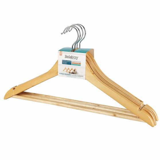 Beldray LA063557EU FSC Certified Wooden Hangers, Pack of Four