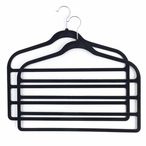 Beldray Pack of Three Velvet 4-Tier Trouser Hangers, Black