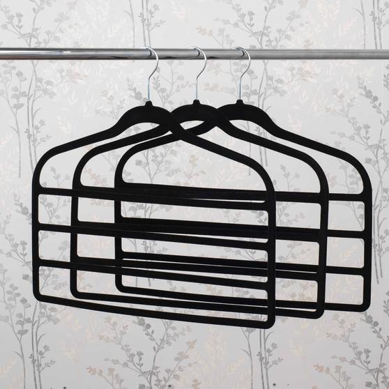 Beldray Pack of Three Velvet 4-Tier Trouser Hangers, Black Thumbnail 2