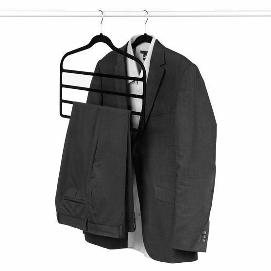 Beldray Pack of Three Velvet 4-Tier Trouser Hangers, Black Thumbnail 3