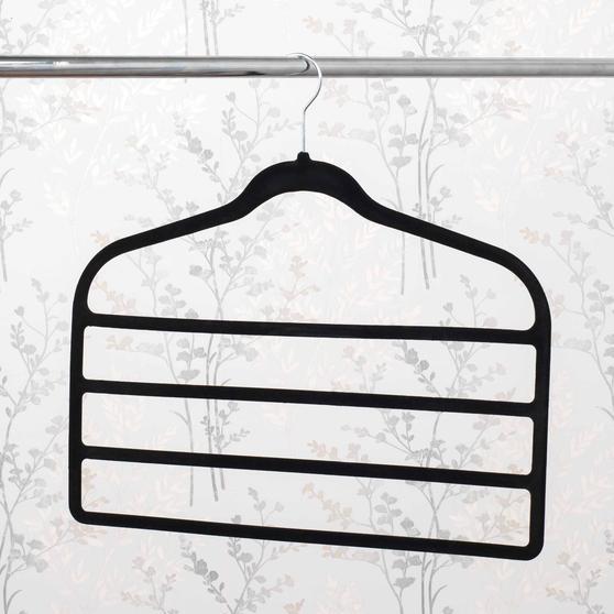 Beldray Pack of Three Velvet 4-Tier Trouser Hangers, Black Thumbnail 4