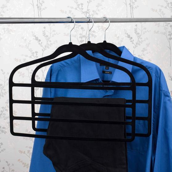 Beldray Pack of Three Velvet 4-Tier Trouser Hangers, Black Thumbnail 5