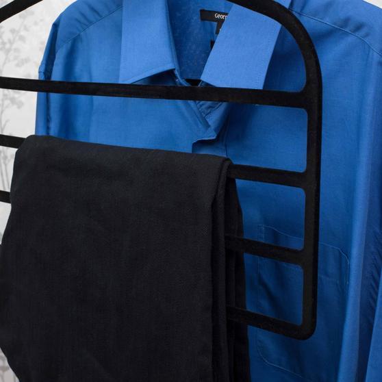 Beldray Pack of Three Velvet 4-Tier Trouser Hangers, Black Thumbnail 6