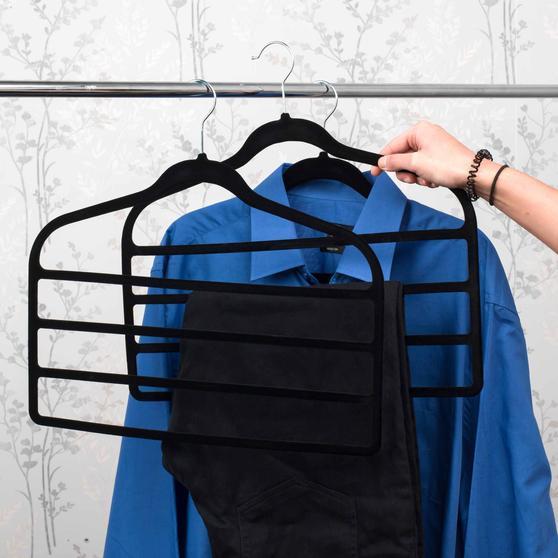 Beldray Pack of Three Velvet 4-Tier Trouser Hangers, Black Thumbnail 7