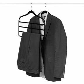 Beldray LA063779BLKEU Pack of Three Velvet 4-Tier Trouser Hangers, Black Thumbnail 3