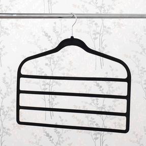 Beldray LA063779BLKEU Pack of Three Velvet 4-Tier Trouser Hangers, Black Thumbnail 4