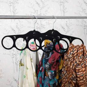 Beldray LA063816BLKEU Pack of Two Velvet Scarf Hanger, Black Thumbnail 3