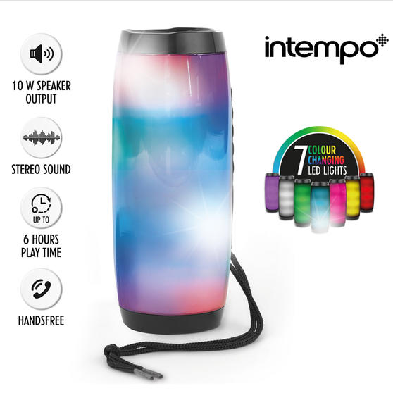 Intempo Rechargeable Bluetooth LED Light up Speaker for iPhone, Android and Other Smart USB Devices